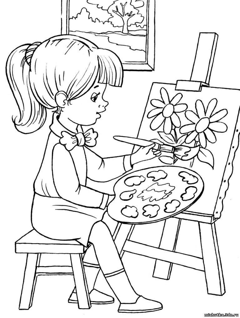 Раскраска рисующий мальчик